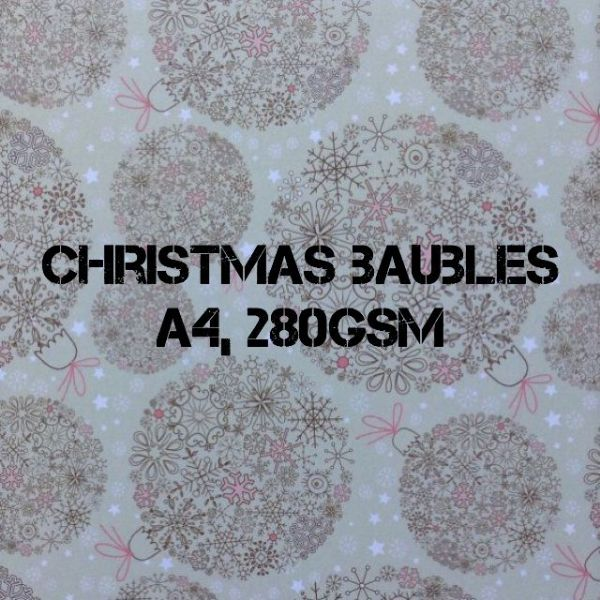 Payper Box A4 Printed Card Christmas Baubles - 10 Sheets